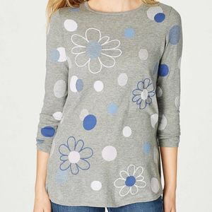 J. Jill Great Flowers & Dots Embroidered Pullover